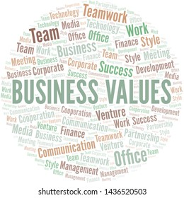 Business Values word cloud. Collage made with text only.
