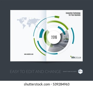 Business vector. Brochure template layout, cover design annual report, magazine, flyer in A4 with particles, circles, segments of rounds for IT, business, strategy, finance. Abstract art