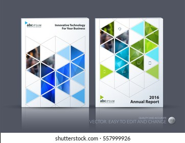 Business vector. Brochure template layout, cover modern design annual report, magazine, flyer in A4 with green moving shapes, geometric triangles business, tech. Abstract art with overlay effect.