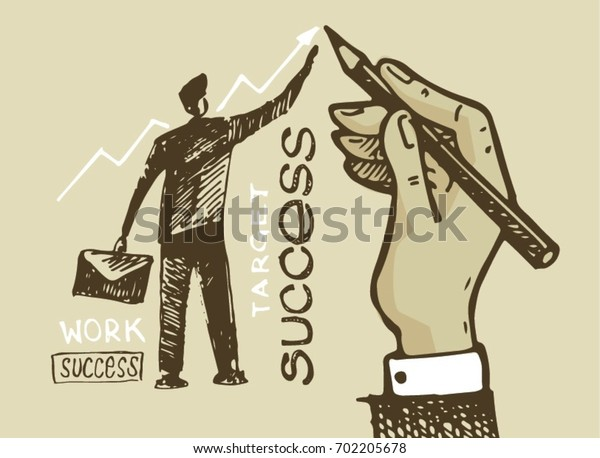 Business vector concept illustration. Creating path to success. Hand drawn doodle graphic business illustration.