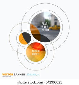 Business vector design elements for graphic layout. Modern abstract background template with yellow rounds, circles, soft lines for IT, technology in clean minimal style.