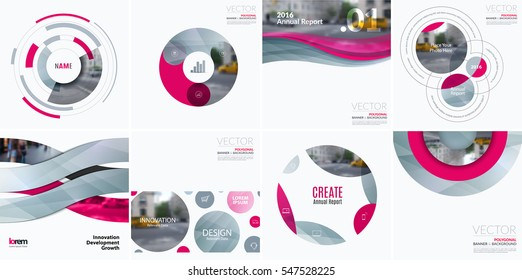 Business vector design elements for graphic layout. Modern abstract background template with pink soft shapes, rounds, circles for tech in clean minimal style with overlay effect. Creative set.