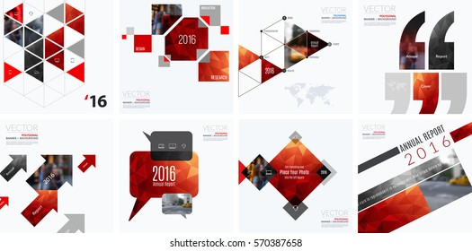 Business vector design elements for graphic layout. Modern abstract background template with red rectangles, geometric shapes for PR, business, tech in clean minimal style. Mega set.