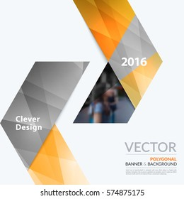 Business vector design elements for graphic layout. Modern abstract background template with yellow arrows, triangles for PR, business, tech in clean minimal style.