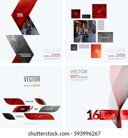 Business vector design elements for graphic layout. Modern abstract background template with many red geometric shapes, banners for PR, business, tech in clean minimal style. Mega set