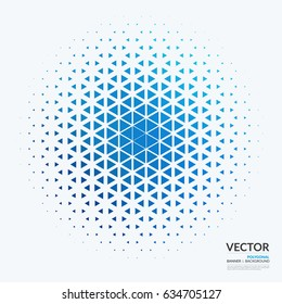 Business vector design elements for graphic layout. Modern abstract background template with blue triangles, geometric shapes for tech, market, innovative technology.