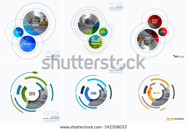 Business vector design elements for graphic layout. Modern abstract background template with colourful rounds, circles, soft lines for IT, technology in clean minimal style.