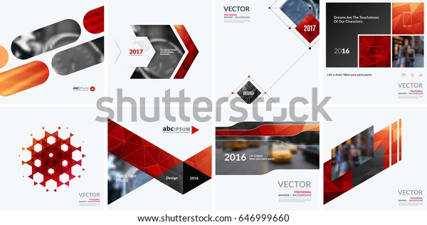 Business vector design elements for graphic layout. Modern abstract background template with red blue squares, triangles, diagonal geometric shapes for tech in clean minimal style.