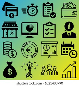 Business vector icon set consisting of 16 icons about dollar sign, bar chart, time, money, cash, planning, timing, shop, cent and idea