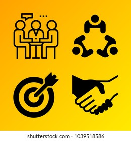 Business vector icon set consisting of 4 icons about handshake, target, deal, meeting and agreement