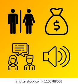 Business vector icon set consisting of 4 icons about tv, broadcast, man, african, network, sign, user, diversity, partnership and conversation