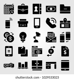 Business vector icon set. lamp, type writter, notes and email
