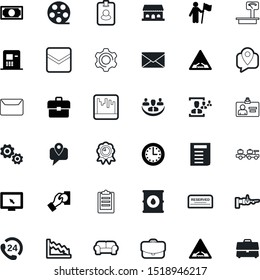 business vector icon set such as: prize, timer, movie, warehouse, electronic, living, audience, trolley, stack, social, cursor, climber, data, party, focus, clipboard, sofa, 24h, monitor, marketing
