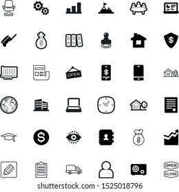 business vector icon set such as: planning, curve, school, briefcase, international, team, discussion, deliver, press, chronometer, countdown, achievement, fast, career, competition, write, minute