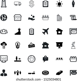 business vector icon set such as: bag, study, garden, profile, seminar, analytics, tourism, level, credit, luggage, stairs, signature, first, boss, retention, air, successful, care, golden, pc
