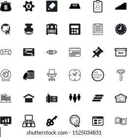 business vector icon set such as: quality, traffic, coverage, handle, bright, sit, stairway, living, day, key, salary, personal, organisation, pay, interior, steps, secret, persons, stairs, lens