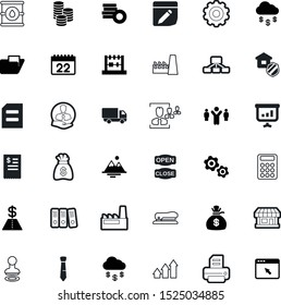 business vector icon set such as: ring, mark, clip, mechanical, date, approval, truck, workflow, retention, pounds, book, chemical, number, defense, machine, barrel, banner, calendar, sale, tree