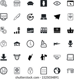 business vector icon set such as: planet, stock, boarding, human, america, station, top, switch, click, package, name, browser, archive, small, retina, cam, folder, contact, week, tool, badge, video