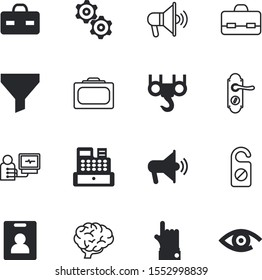 business vector icon set such as: female, cooperation, register, keypad, solution, eye, industrial, portrait, showing, airplane, bottleneck, engineering, commercial, heartbeat, right, cogwheel