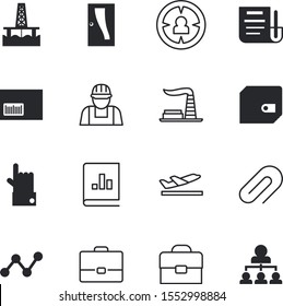 business vector icon set such as: fuel, structure, well, customer, petroleum, minimal, open, environmental, paperwork, cash, buying, flight, attached, targeting, balance, application, pay, debt