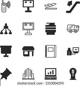 business vector icon set such as: tip, off, plan, team, vehicle, desktop, tree, dial, idea, emergency, plane, print, cardiogram, pyramid, light, townhouse, tourism, tool, warehouse, flipchart