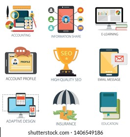 business vector icons collection of Accounting, Information Share, E-Learning, Account Profile, Email Message, Design, Insurance, Education.  Design Business elements for mobile and web applications.