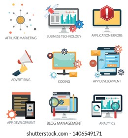 business vector icons collection of Affiliate Marketing, Business Technology, Errors, Advertising, Coding, App Development, Analytics and Blog Management.  Design Business elements. mobile and web app