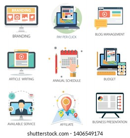 business vector icons collection of Branding, Pay Per Click, Business Presentation, Annual Schedule, Article Writing, Service and Budget.  Design Business elements for mobile and web applications.