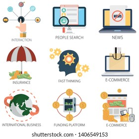 business vector icons collection of Interaction, People Search, News, Insurance, Thinking, E-Commerce, International Business and Funding Platform.  Design Business elements for mobile. web
