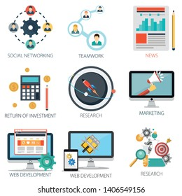 business vector icons collection of News, Teamwork, Social Networking, Investment, Research, Marketing and Web Development.  Design Business elements for mobile and web applications.