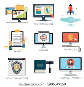 business vector icons collection of Review, Internet, Pay Per Click, Secure Transactions, Law - Login and Password .  Design Business elements for mobile and web applications.