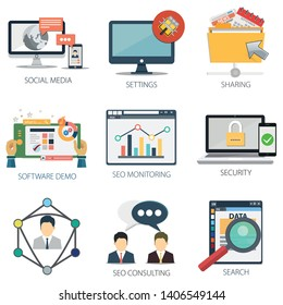 business vector icons collection of Social Media, Settings, Sharing, Software Demo, SEO Monitoring, Security, SEO Consulting and Search.  Design Business elements for mobile and web applications.