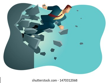 Business vector illustration of a businessman breaking the wall. Business, breakthrough, success, challenge concept.