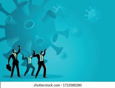 Business vector illustration of a businessmen holding a giant coronavirus together. Heavy, burden due coronavirus pandemic business concept