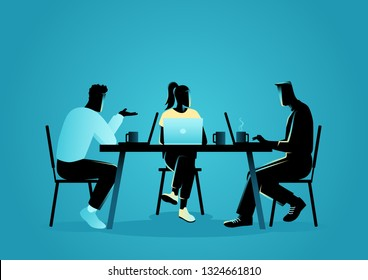 Business vector illustration of a group of young people in casual wear working at a coffee shop