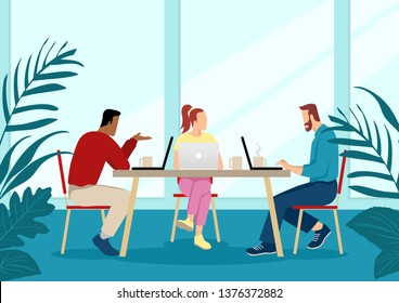 Business vector illustration of a group of young people in casual wear working together