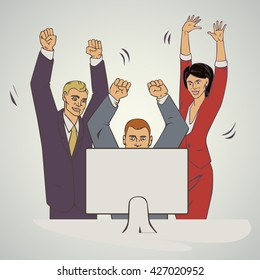 business vector illustration with ofice people raise hands and happy