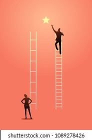 Business vector illustration of unfair competition, inequality or privilage in business concept