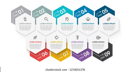 Business vector Infographic design template with icons and 9 options or steps.  Can be used for process diagram, presentations, workflow layout, banner, flow chart, info graph.