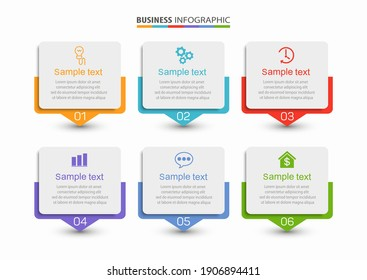 Business vector infographic design template with icons and 6 options or steps. Can be used for process diagram, presentations, workflow layout, banner, flow chart, info graph