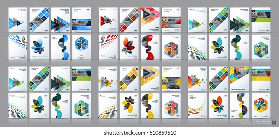 Business vector mega set. Brochure template layout, cover design annual report, magazine, flyer in A4 with colourful flying triangles, arrows, polygons for finance, science, teamwork. Abstract design