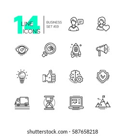 Business - vector modern single line icons set. Man, woman, eye, magnifying glass, hourglass, laptop, brain, ok symbol, mountain, speaker, spaceship.