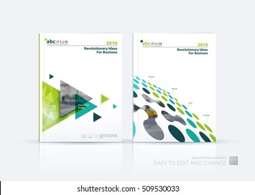 Business vector set. Brochure template layout, cover design annual report, magazine, flyer in A4 with green blue flying triangles, arrows, dots, circles for finance, science, teamwork. Abstract design