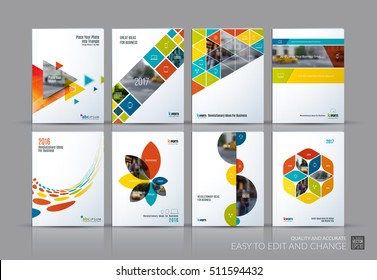 Business vector set. Brochure template layout, cover design annual report, magazine, flyer in A4 with colourful flying triangles, square, circles, flower, polygons for science, teamwork. Abstract