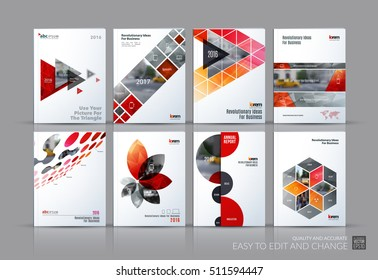 Business vector set. Brochure template layout, cover design annual report, magazine, flyer in A4 with red flying triangles, square, circles, flower, polygons for science, teamwork. Abstract