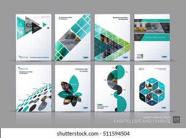 Business vector set. Brochure template layout, cover design annual report, magazine, flyer in A4 with turquoise flying triangles, square, circles, flower, polygons for science, teamwork. Abstract