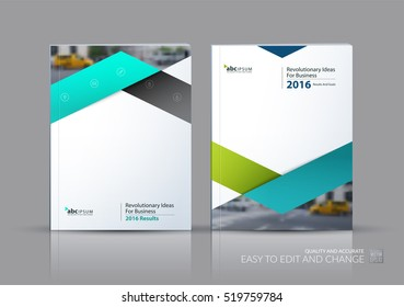 Business vector set. Brochure template layout, cover design annual report, flyer in A4 with green triangles, arrows for business, finance, buildings, nature concept. Abstract creative design.