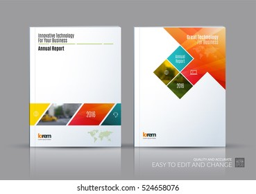 Business vector set. Brochure template layout, cover design annual report, magazine, flyer in A4 with colourful rectangular shapes, diagonal lines, parallelogram for IT, business, building. Abstract.