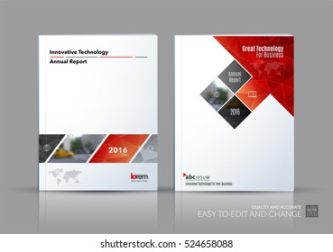 Business vector set. Brochure template layout, cover design annual report, magazine, flyer in A4 with red rectangular shapes, diagonal lines, parallelogram for IT, business, building. Abstract.