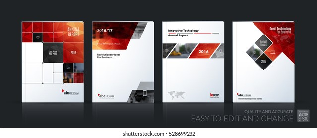 Business vector set. Brochure template layout, cover design annual report, magazine, flyer in A4 with red rectangular diagonal shapes, squares, arrows for IT, business, building. Abstract.